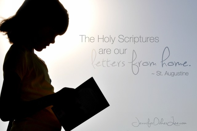 St. Augustine, letters from home, scripture