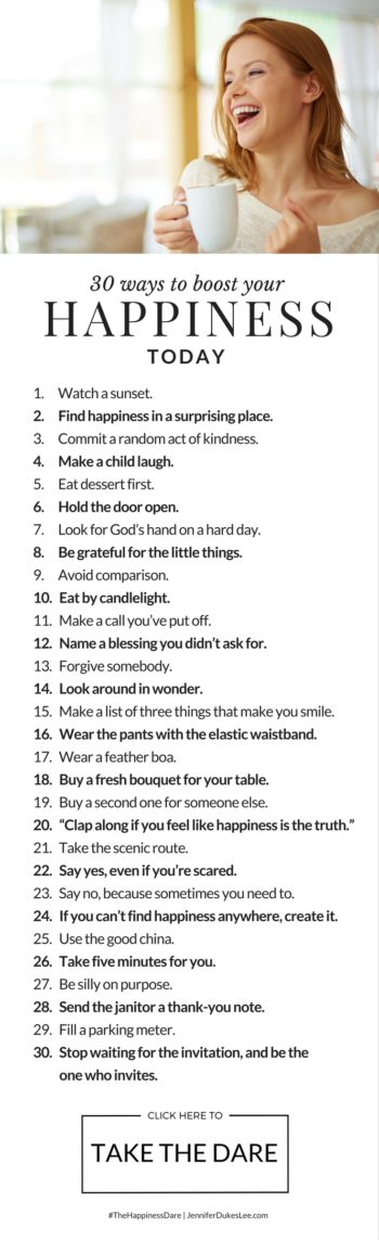 30 ways to boost your happiness today
